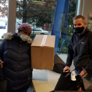 Resident received box of food from Lenfest's weekly food distribution
